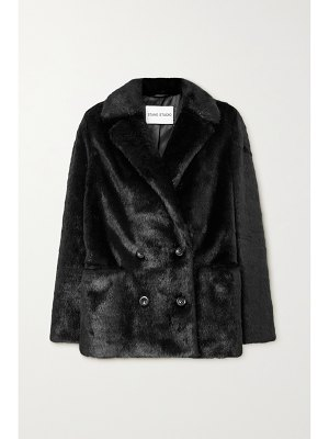 Stand Studio annabelle double-breasted faux pony hair blazer