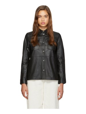 Stand Studio black leather mazal shirt