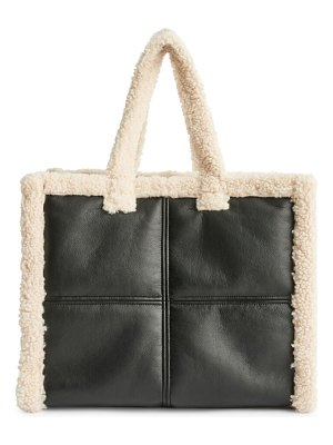 Stand Studio large lola faux shearling-trimmed tote