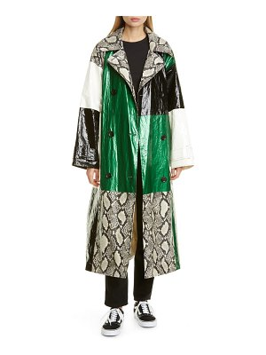 Stand Studio nino snake print patchwork faux leather coat