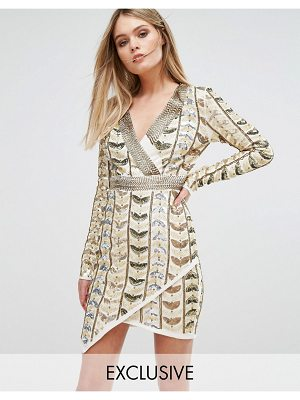 Starlet plunge front mini dress with wrap skirt