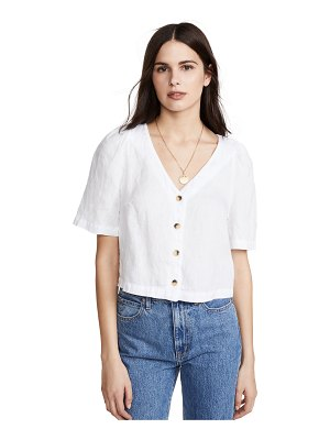 Stateside linen puff sleeve button up shirt