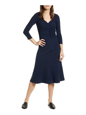 Stateside ruched detail stretch cotton flare dress