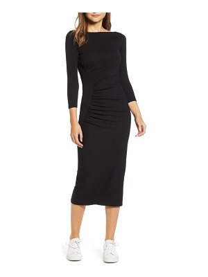 Stateside ruched ribbed body-con dress