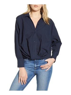 Stateside twist front poplin shirt