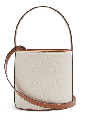 STAUD bisset canvas and leather bucket bag
