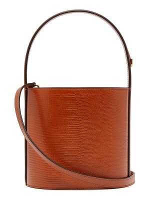 STAUD bissett lizard-effect leather bucket bag