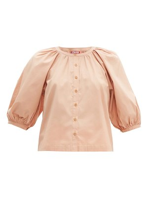 STAUD blouson sleeve cotton blend top