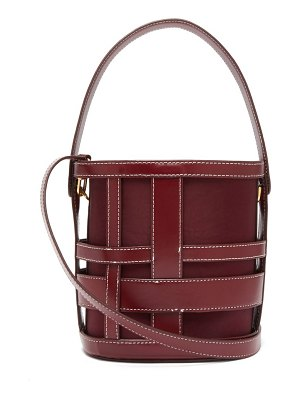 STAUD brody caged leather bucket bag