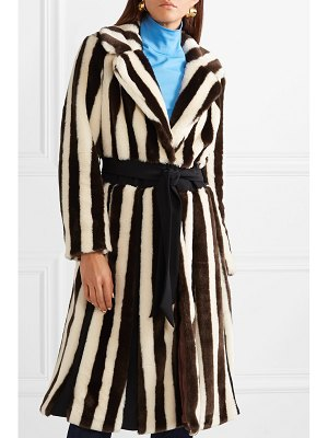 STAUD bungalow belted striped faux fur coat
