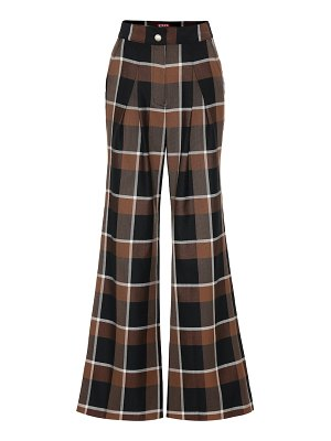 STAUD checked wool-blend wide-leg pants
