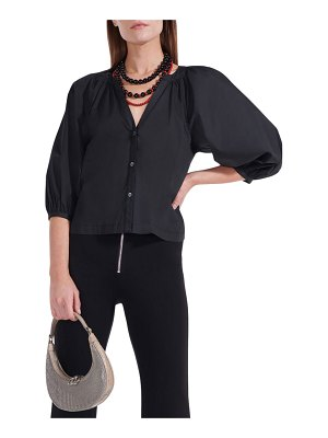 STAUD Dill Puff-Sleeve Button-Front Top