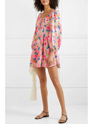 STAUD juniper printed crepe de chine mini dress
