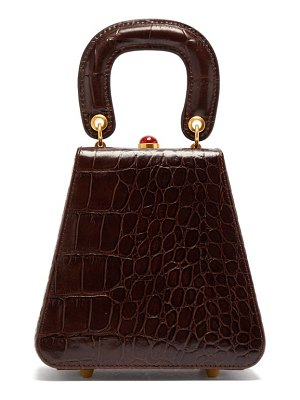 STAUD kenny top handle crocodile embossed leather bag