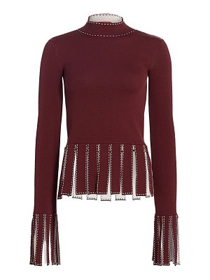 STAUD mika broken line fringe-trim peplum top