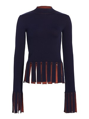 STAUD mika fringe-trim peplum top