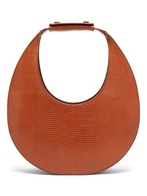 STAUD moon lizard-effect leather shoulder bag