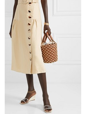 STAUD moreau leather and macramé bucket bag