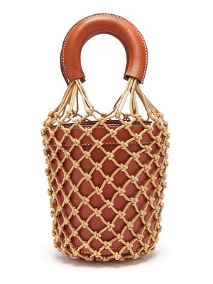STAUD moreau macramé and leather bucket bag