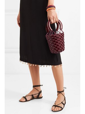 STAUD moreau mini macramé and leather bucket bag