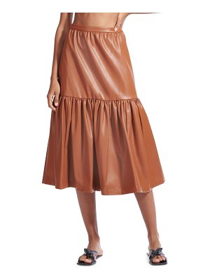 STAUD orchid vegan leather tiered midi skirt