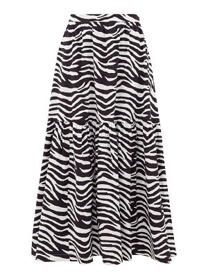 STAUD orchid zebra-print cotton-blend midi skirt