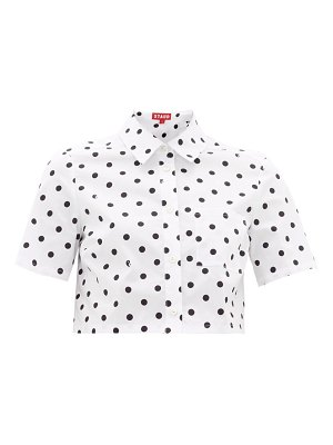 STAUD polka-dot cotton-blend cropped blouse