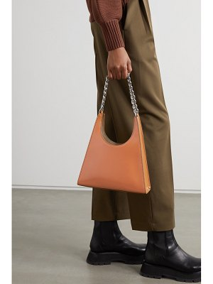 STAUD rey chain glossed-leather tote