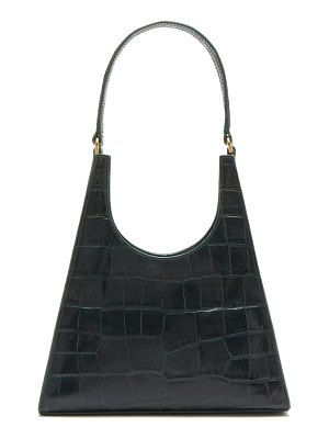 STAUD rey crocodile embossed leather shoulder bag