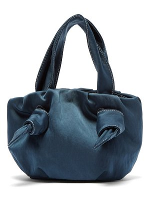 STAUD ronnie topstitched knotted sateen bag