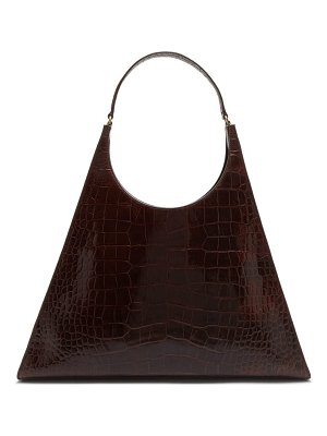 STAUD rey large crocodile embossed leather shoulder bag