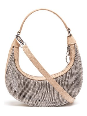 STAUD sasha mini chainmail and croc-effect leather bag