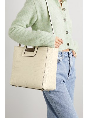 STAUD shirley croc-effect patent-leather tote
