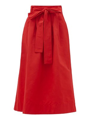 STAUD snoop belted cotton-blend midi skirt