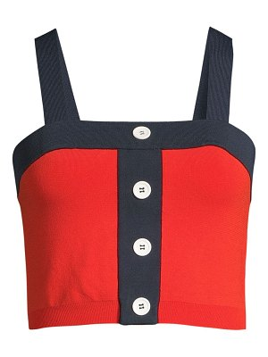 STAUD sole two-tone button-front crop top
