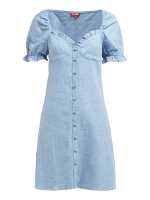 STAUD sur linen blend mini dress
