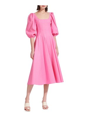 STAUD Swells Puff-Sleeve Midi Dress