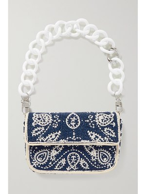 STAUD tommy mini leather and resin-trimmed beaded satin shoulder bag