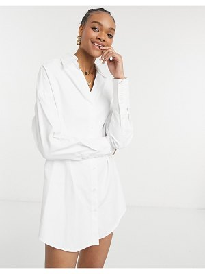 Steele darted boyfriend shirt dress in white