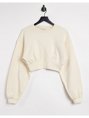 Steele fleece contrast rib sweater in ecru-white