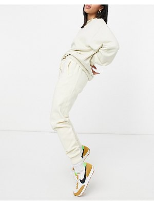 Steele fleece contrast rib sweatpants in ecru-white