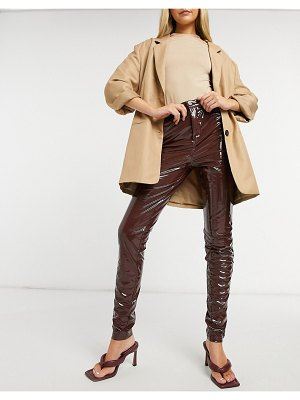 Steele latex skinny pants in brown