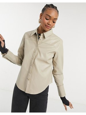 Steele torri vegan friendly leather button up shirt in tan-brown