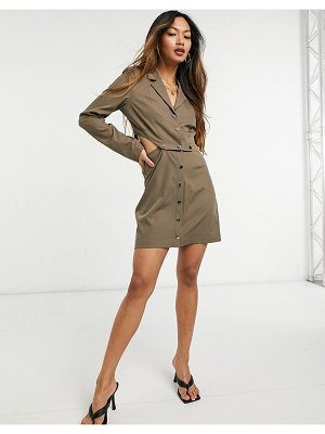 Steele valerie snap dress in tan-brown