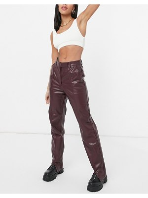 Steele vegan leather straight leg pants in brown