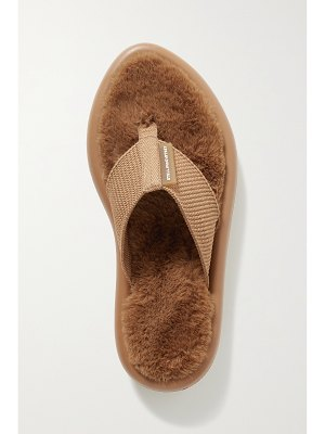 Stella McCartney air slide faux fur-lined recycled canvas flip flops