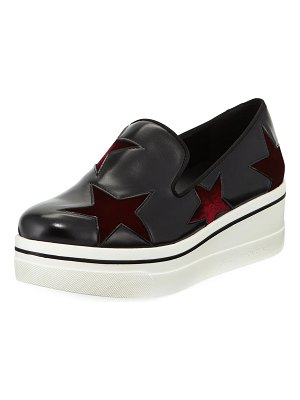 Stella McCartney Binx Velvet-Star Platform Sneakers