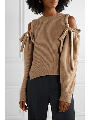 Stella McCartney cold-shoulder ribbed cashmere and wool-blend sweater