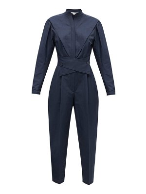 Stella McCartney crossover-belt slubbed-twill jumpsuit