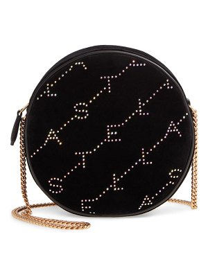 Stella McCartney crystal monogram velvet circle crossbody bag